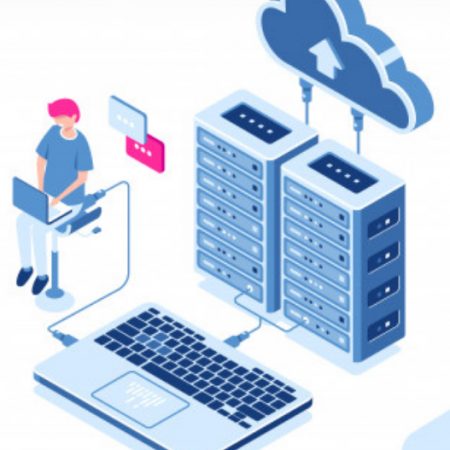 Data calculation and auditing isometric engineer working with cloud storage server room datacente Vector Free Download